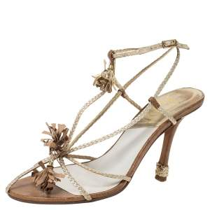 Dior Metallic Gold Woven Leather Strappy Ankle Strap Sandals Size 37