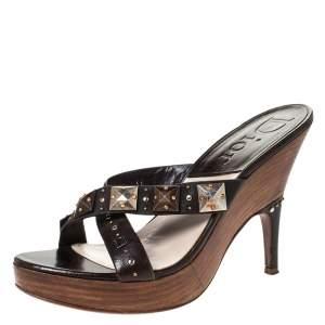 Dior Brown Leather Studded Cross Strap Platform Sandals Size 38
