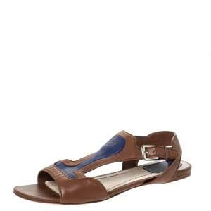 Dior Brown/Blue Leather Open Toe Ankle Strap Flat Sandals Size 38.5