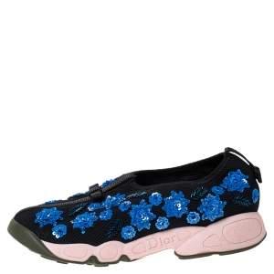 Dior Black Mesh Fusion Crystal Embellished Slip On Sneakers Size 37