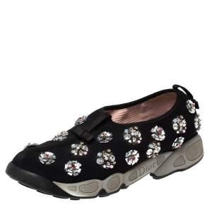 حذاء رياضي ديور فيوجين زخرفة موردة سليب أون شبكة أسود مقاس 38
