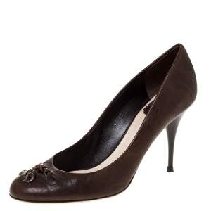 Dior Brown Leather CD Logo Bow Round Toe Pumps Size 38.5