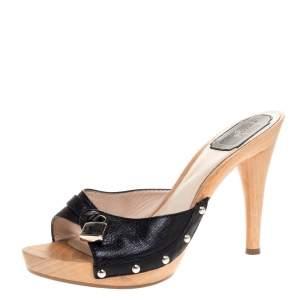 Dior Black Leather Lock Wooden Clog Slide Sandals Size 38.5