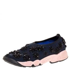 Dior Navy Blue/Pink Floral Embellished Mesh Fusion Slip On Sneakers Size 35