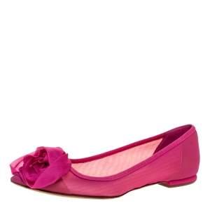 Dior Pink Net Fabric Rose Ballet Flats Size 35.5