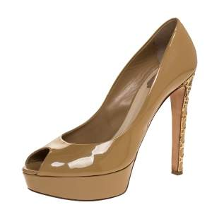 Dior Beige Patent Cannage Heel Peep Toe Platform Pumps Size 40.5