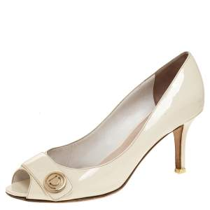 Dior White Patent Leather Peep Toe Pumps Size 37.5
