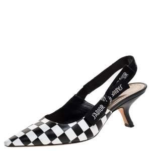Dior Black/White Leather J'Adior Slingback Sandals Size 38