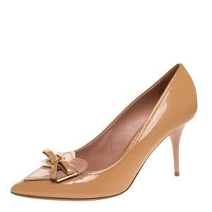 Dior Marine Beige Patent Heart Bow Embellished Pointed Toe Pumps Size 40