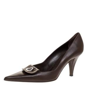 Dior Brown Leather C&D Charm Pointed Toe Pumps Size 39