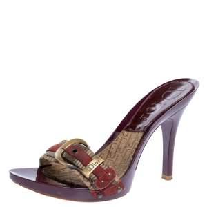 Dior Burgundy Canvas Clogs Sandals Size 37
