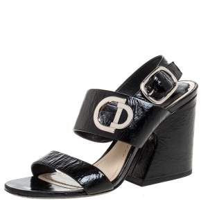 Dior Black Textured Patent Leather Slingback Sandals Size 36