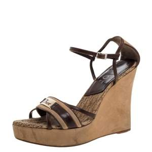 Dior Brown Leather and Suede Diorissimo Wedge Platform Sandals Size 39