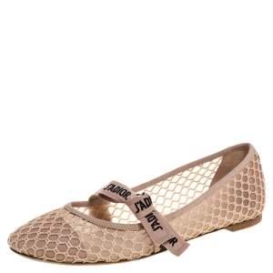 Dior Beige Mesh Miss J'adior Ballet Flats Size 40