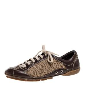 Dior Brown Leather and Diorissimo Canvas Low Top Sneakers Size 37