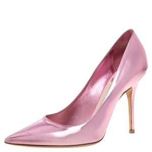 """حذاء كعب عالى ديور """"شيري"""" مقدمة مدببة جلد وردي ميتاليك مقاس 38.5"""