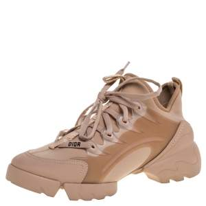 Dior Beige Stretch Fabric And Leather Trim D-Connect Low Top Sneakers Size 37.5
