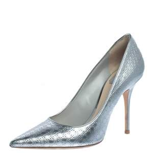 Dior Metallic Silver Cannage Leather Cherie Pointed Toe Pumps Size 40