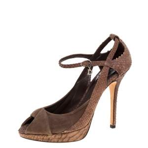 Dior Brown Python Embossed Leather and Suede Ankle Strap Peep Toe Pumps Size 37