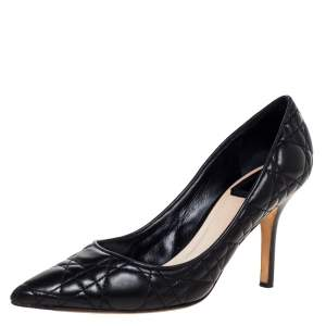 Dior Black Quilted Cannage Leather Pointed Toe Pumps 37.5