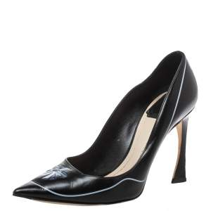 Dior Black Leather 'Paradise' Pointed Toe Pumps Size 36
