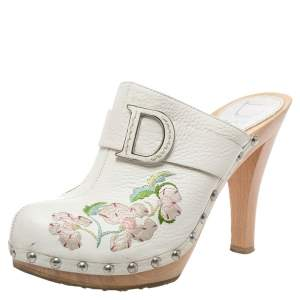 Dior White Floral Embroidered Leather Platform Clogs Size 37