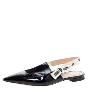 Dior Black Patent Leather J'adior Ribbon Pointed Toe Slingback Sandals Size 38