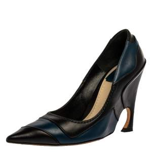 Dior Black/Blue Leather Wedge Pointed Toe Pumps Size 37