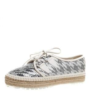 Dior Metallic Silver/White Leather Espadrille Lace Up Sneakers Size 39.5