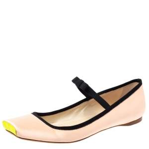 حذاء فلات باليه ديور مقدمة مربعة فيونكة ساتان بيج مقاس 38.5