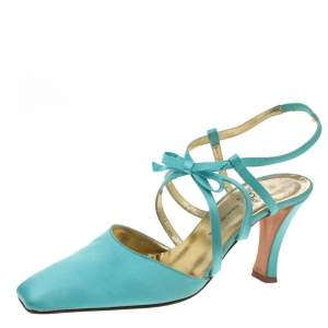 Dior Light Blue Satin Bow Ankle Strap Square Toe Sandals Size 38