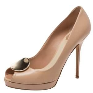 حذاء كعب عالي ديور مقدمة مفتوحة معدن جلد بيج مقاس 37.5