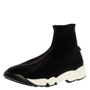 Dior Black Sock Knit Fabric High-Top Slip On Sneakers Size 37