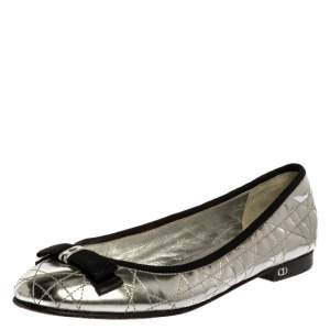 Dior Metallic Silver Quilted Cannage Leather My Bow Ballet Flats Size 37