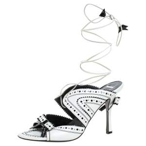 Dior White/Black Leather Brogue Studded Bow Embellished Ankle Wrap Sandals Size 38
