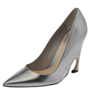 Dior Metallic Grey Leather Pointed Toe Pumps Size 39