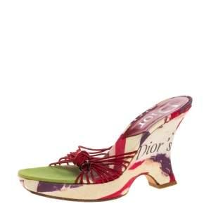 Dior Multicolor Floral Print Fabric Wedge Platform Slide Sandals Size 38