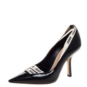 Dior Black Patent Leather J'adior Ribbon Pointed Toe Pumps Size 38