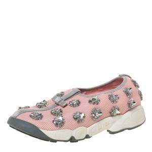 Dior Pink Floral Embellished Mesh Fusion Slip On Sneakers Size 37
