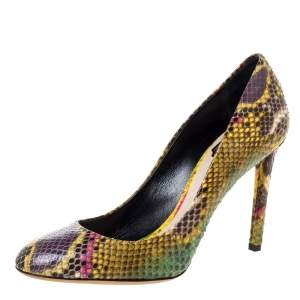 Dior Multicolor Python Round Toe Pumps Size 39