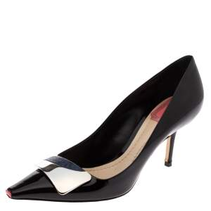 Dior Black Patent Leather Dior Eye Pointed Toe Pumps Size 36