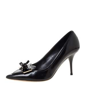 Dior Black Patent Leather Bow Pointed Toe Pumps Size 39