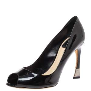 Dior Black Patent Leather Peep Toe Pumps Size 39.5