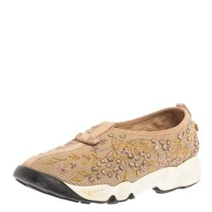 Dior Beige Mesh Fusion Floral Embellished And Embroidered Slip On Sneakers Size 38.5