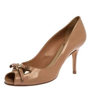 Dior Beige Leather Bow Peep Toe Pumps Size 38