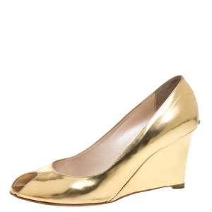 Dior Gold Patent Leather Wedge Peep Toe Pumps Size 38.5