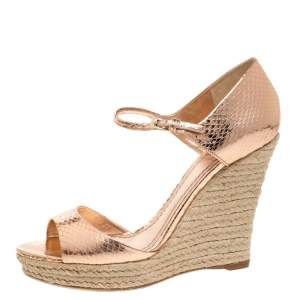 Dior Metallic Bronze Python Embossed Leather Wedge Espadrille Ankle Strap Sandals Size 39