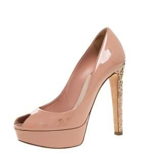 Dior Beige Patent Leather Metal Cannage Heel Peep Toe Platform Pumps Size 37