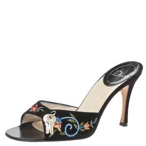 Dior Black Suede Embroidered Lock And Key Open Toe Sandals Size 39