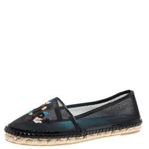Dior Black Mesh Riviera Embroidered Espadrille Flats Size 39